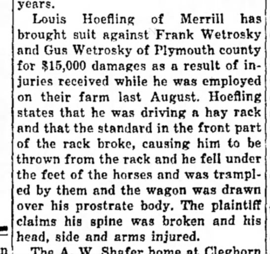 The Independent Hawarden, Iowa 27 March 1930 page 3 - years. Louis Hoefling of Merrill has brought...