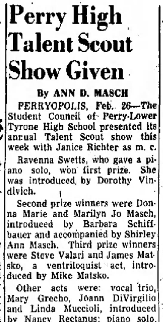 26 FEB 1955 - Perry High Talent Scout Show Given By ANN D....