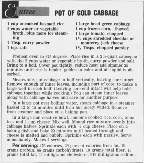 Pot of Gold Cabbage, 2001