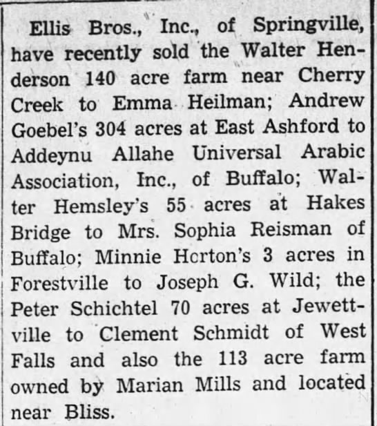 AAUAA purchase farms in 1941 - . Ellis Bros.,Inc, of Springville, have...