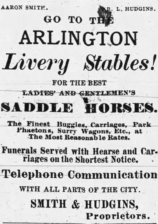 Horse Show 9-28-1883 - AAEON SMITH. GO TO L. HDDGIN9. ARLINGTON Livery...