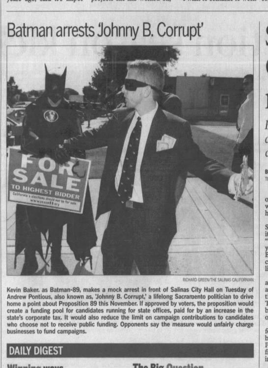 Andrew Pontious or Johnny B Corrupt ?  Oh Dear - Batman arrests Johnny B. Corrupt' ,- ,- w Sit a...