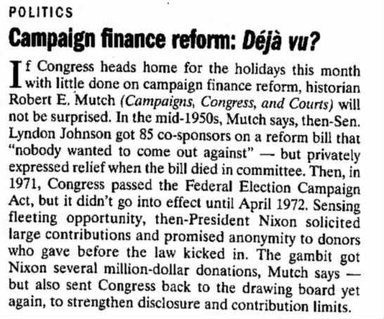 Robert E. Mutch Campaign Finance Expert - POLITICS Campaign finance reform: Deja vu? I f...