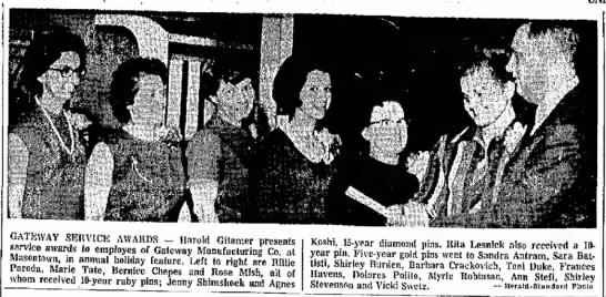 Mish_Rose_Gateway Manufacturing 27 Dec 1967 - the to from as GATEWAY SERVICE AWARDS - Harold...