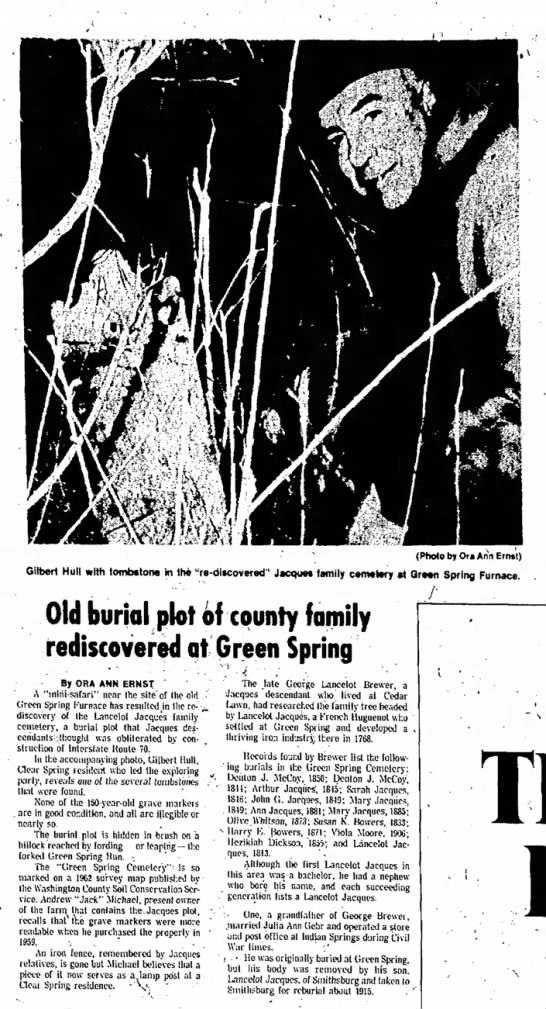 Jacques Cemetery article