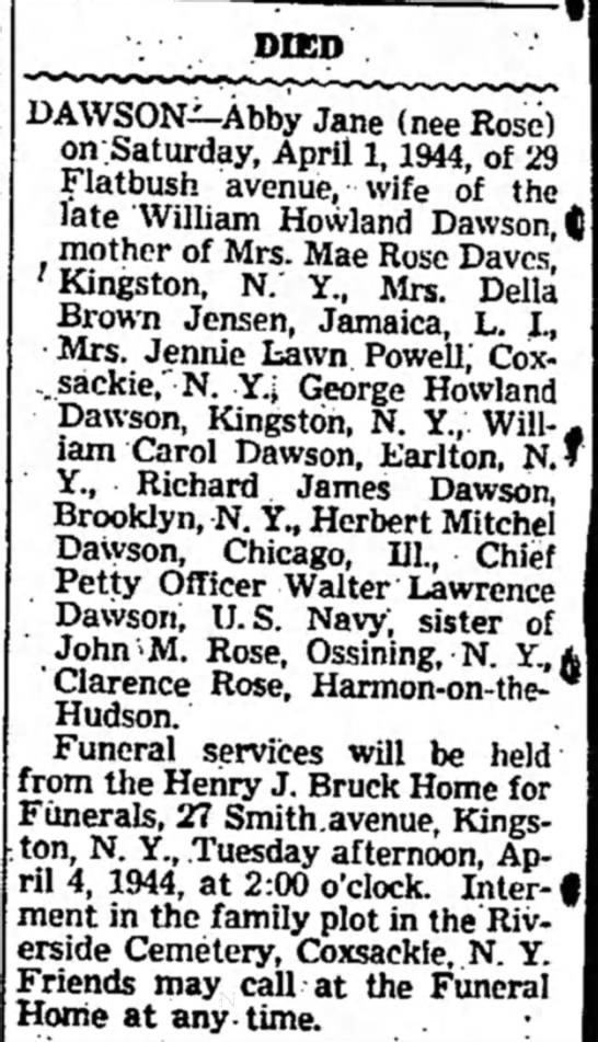 abby Jane Rose Dawson - sister of John M. Rose 3 Apr 1944