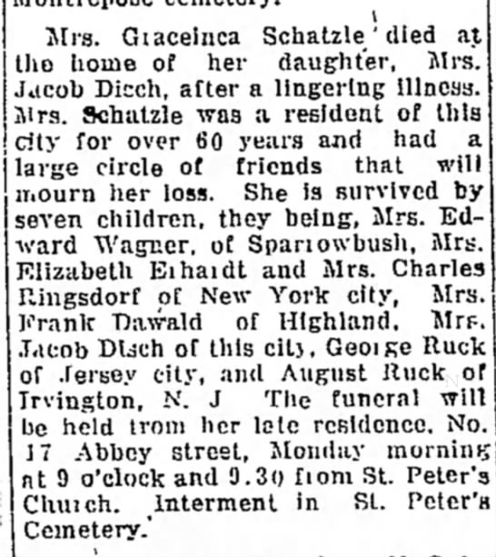 G Schatzie death notice - Mrs. Giaceinca Schatzle ' died tho home of her...