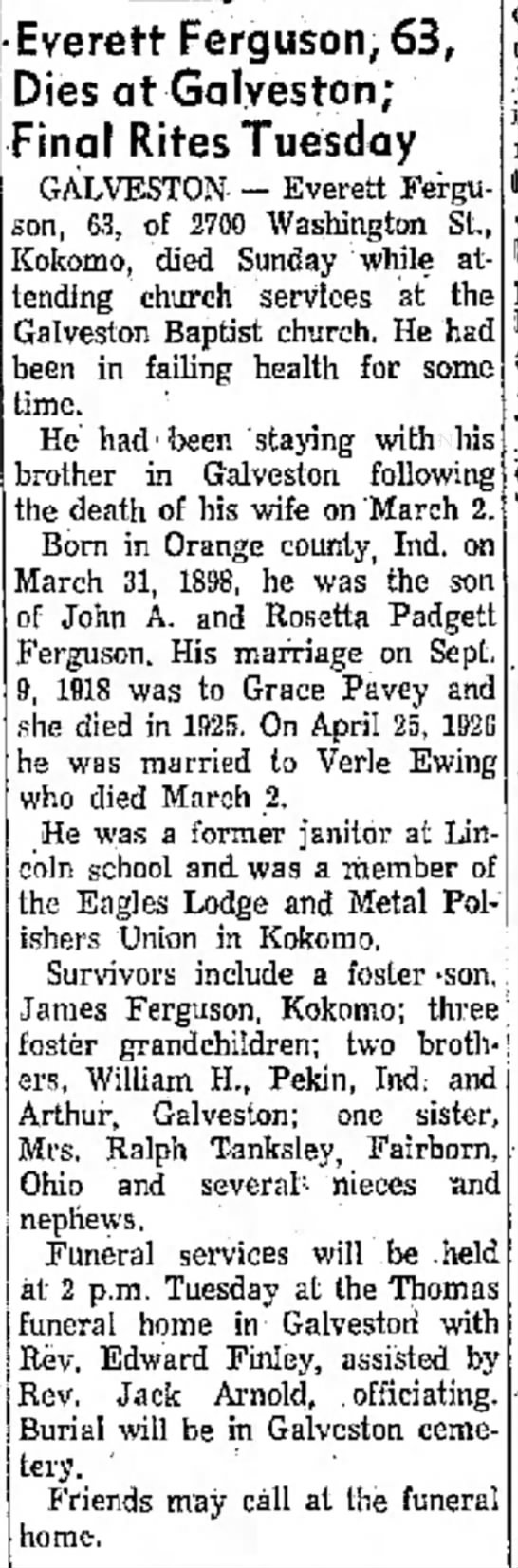 John EVERETT Ferguson obit - to 14, Wednesday Buckey af- he iverett...