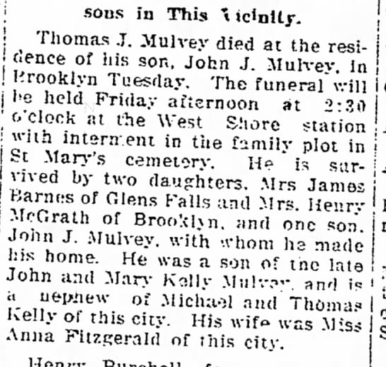 THomas J Mulvey obit - Tbe Roosa dl^cha-Wi 'dnitr », ,., sons in...