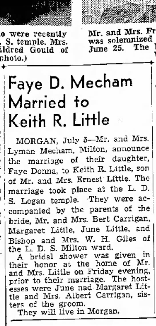 1946 Keith & Faye Mecham Little Wedding - who were recently D. S. temple. Mrs. Mildred...