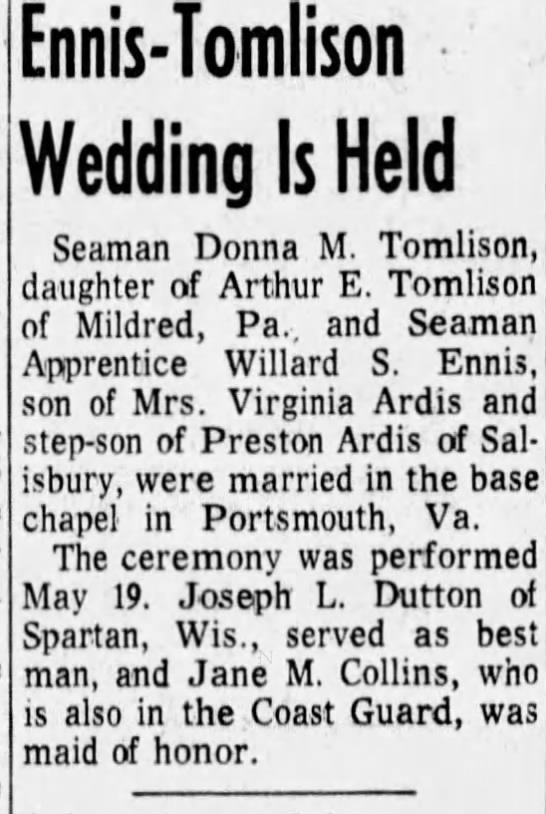 Stan and Donna's Wedding  May 19th, 1975 - Ennis-Tomlison Ennis-Tomlison Ennis-Tomlison...