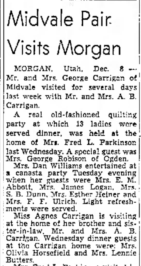 1951 George & Ida Carrigan visit Morgan, Agne Carrigan visits Ab & Julia - .. desired id vale Pair- Visits Morgan MORGAN,...