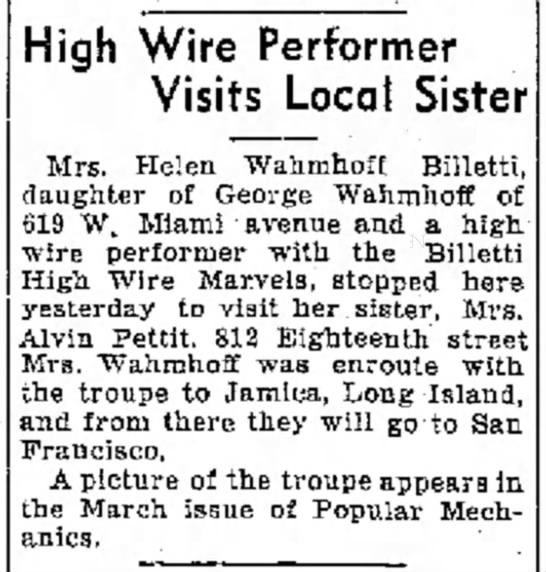 Helen Billetti Feb 26, 1937 Logansport Pharos Tribune - near wide . a He High Wire Performer Visits...