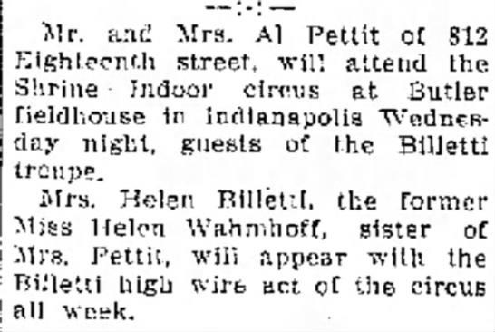 Billetti - March 7, 1938 Pharos-Tribune