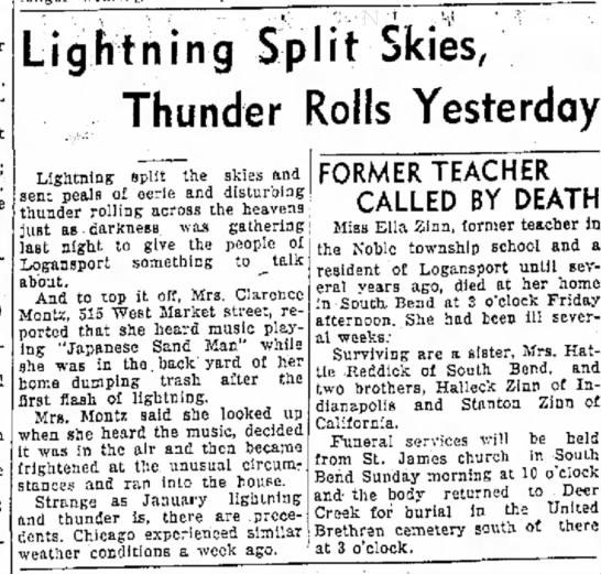 Mrs. Clarence Montz 18 Jan 1936 - 24. 10. Pen- Lightning Split Skies, Thunder...