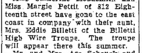 Billetti - June 16, 1939Logansport Pharos Tribune - Miss Margie Pettit of 812 Eighteenth street...