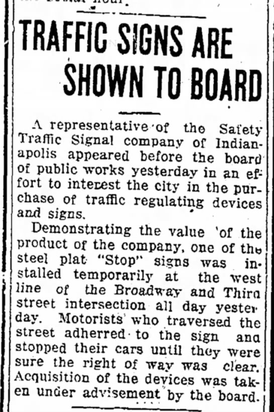 Logansport Pharos-Tribune 4 2 1925 pg 9 - in TRAFFIC SIGNS ARE SHOWN TO BOARD A...