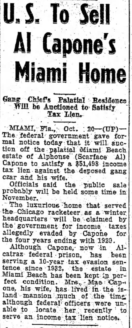 US to sell Al Capones Miami home-1936 - at S. Haute to m. 2:34 Miss th Anna UJTTole!!...