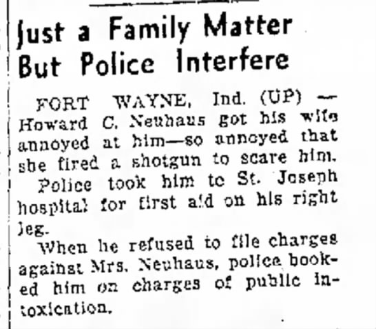 "Mom shoots ddd - April 1948 - '""i Just a Family Matter But Police Interfere..."