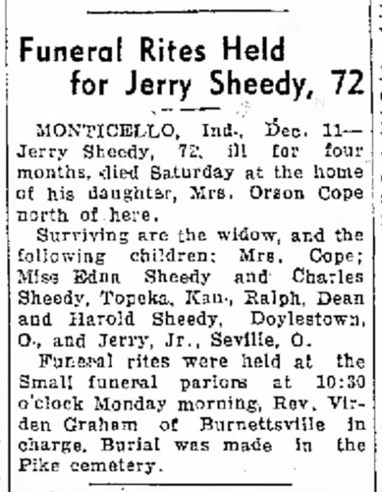 Logansport Pharos-Tribune (Logansport, Indiana, 11 Dec 1939 - this bar his Funeral Rites Held for Jerry...
