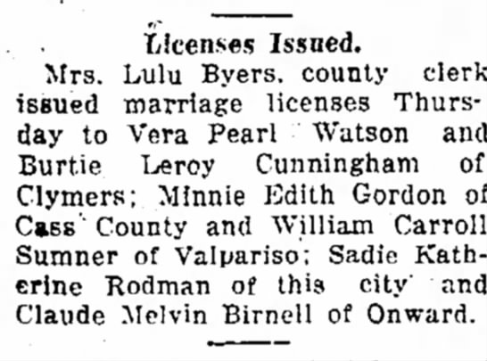 Claude Melvin Birnell - Licenses Issued. Mrs. Lulu Byers. county clerk...