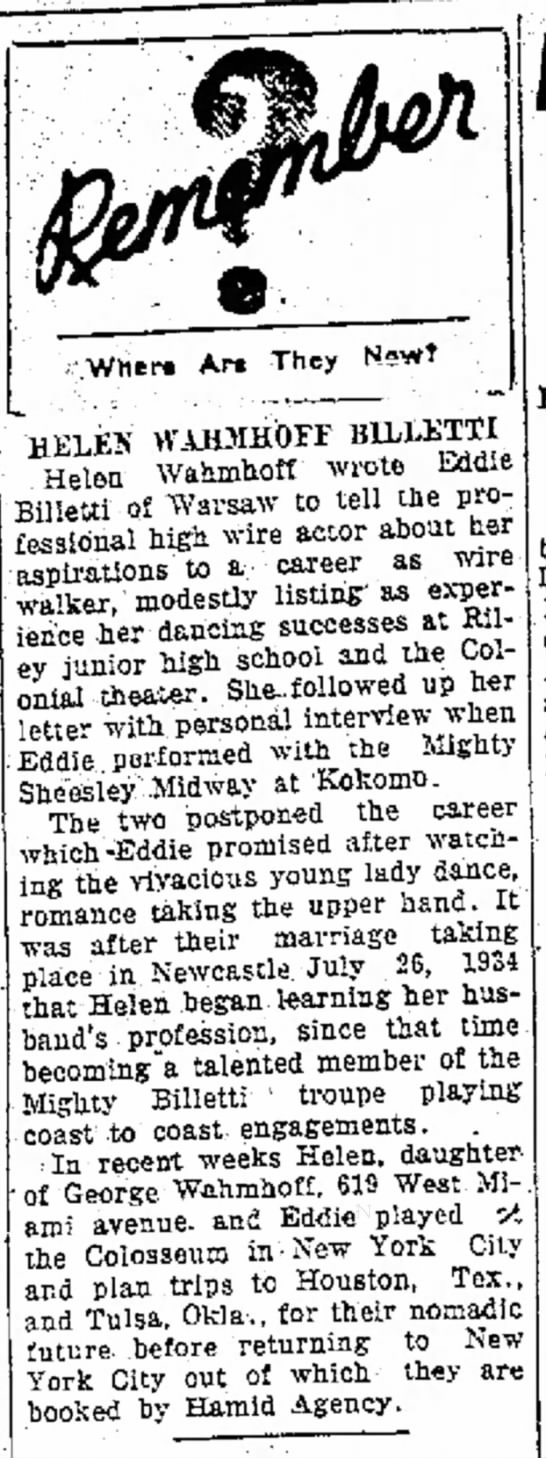 Billetti - Oct 5, 1935 Logansport Pharos Tribune - to of Les Friday, at wanted grand He to have...