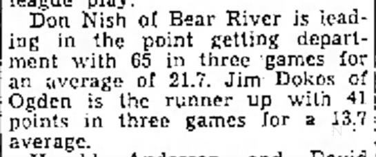 - Don Nish of Bear River is leading in the point...