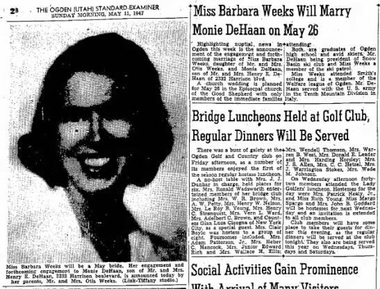 Monie DeHaan Marriage to Barbara Weeks, Ogden Standard-Examiner, 11 May 1947