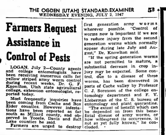 Farmers Request Assistance in Control of Pests - THE O6DEN (UTAHJ STANDARD-EXAMINER WEDNESDAY...