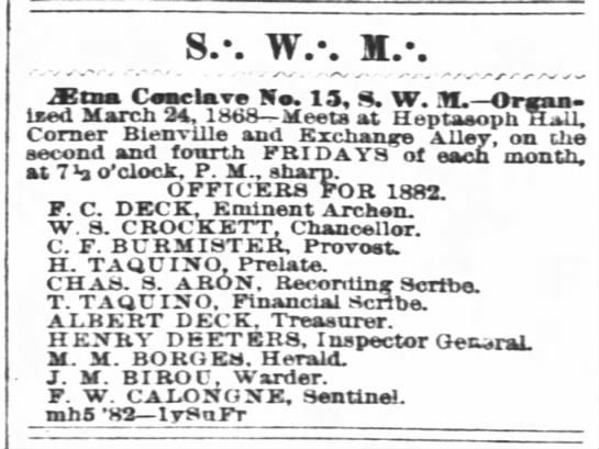 Henry Deeters, Inspector General, SWM Aetna Conclave #15