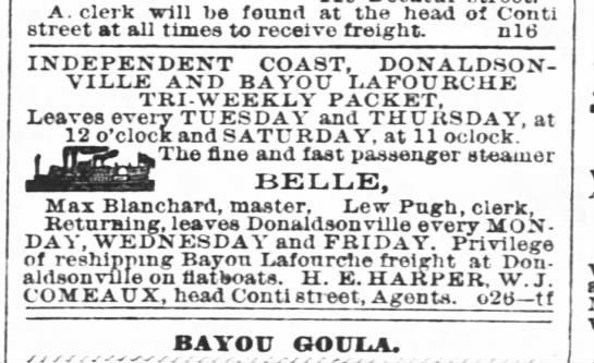 Steamboat Belle - A. clerk will be found at the head of Conti...