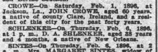 - . t CROWE On Saturday, Feb. 1. 1896, at...