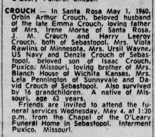 ORBIN ARTHUR CROUCH OBIT 1960 MAY 1