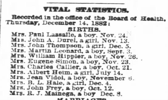 Hippler Wm Jr 1882 birth notice - vTTAJL, STATISTIO!. Recorded la the office of...