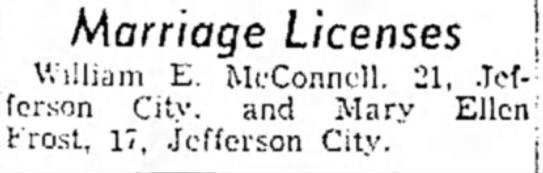 - Marriage Licenses William E. McConnell. 21,...