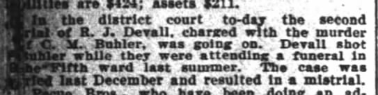 Richard Devall trial in the murder of C. M. Buhler - Jan 5, 1899