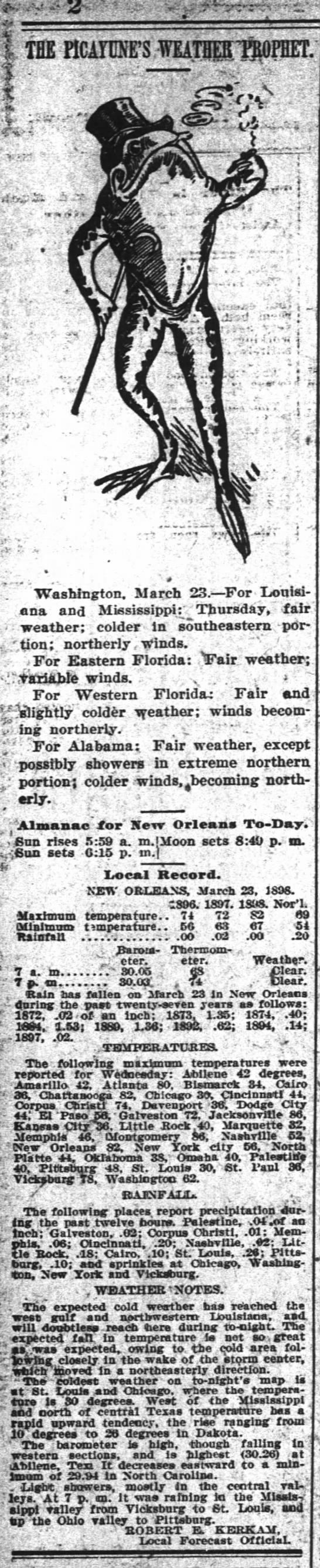 1898 The Time-Picayune : Weather Prophet - . . - ; .vim .;. ' - . Washington. March 23-Por...