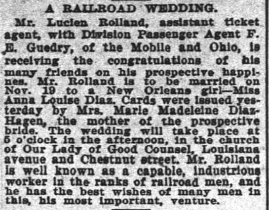 "TP 23 Oct 1900 Tuesday - ; ""7 A BAlXROAD 'WEDDING. ..Mr. Xuden BoUand. '..."