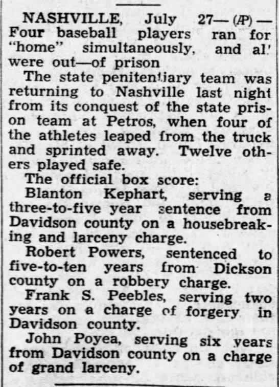 Robert Powers prison break - NASHVILLE, July 27 (JP) Four baseball players...