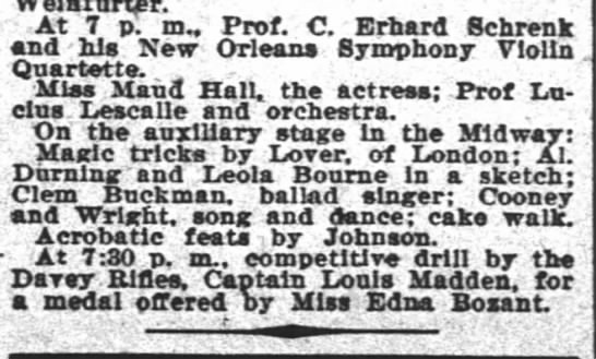 Leola Bourne - At 7 p. m. Prof. C. Erhard Schrenk and - his...