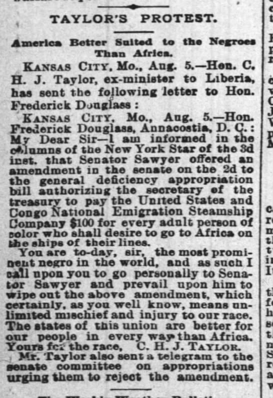 1888-08-06-TimesPicayune-p2-TaylorsProtest - ' TAYLOR'S PROTEST. America Better Sultod to...