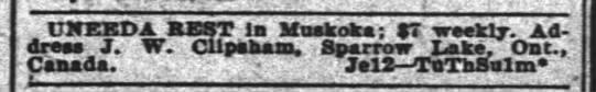 Sparrow Lake News - UKIEDA REST ia Mnakoke: XT -weeklv. Ad. drees...