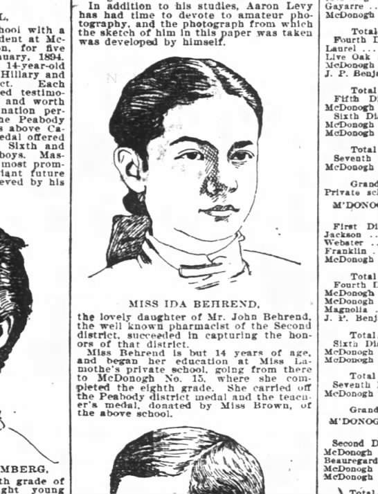 Ida Behrend, daughter of John Behrend - with a at McDonogh for fire 1894. 14-year-old...