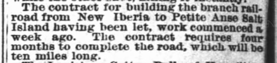 The Times-Picayune (New Orleans) Jan. 10, 1883 - The contract for buildingthe branch rail, road...