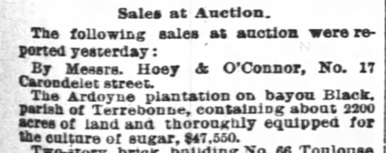 Ardoyne - Sales at Auction. The following sales at...