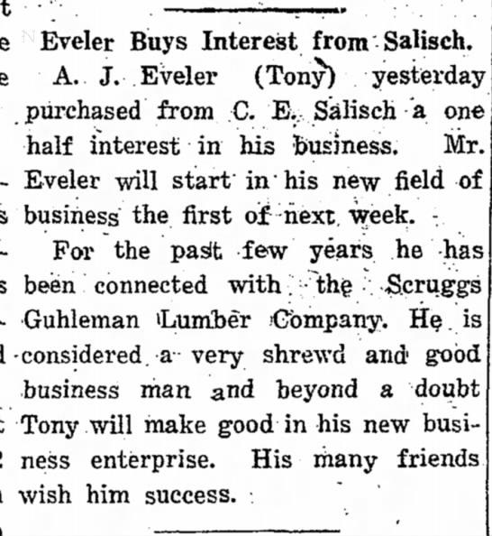 "Tony Eveler Buys Salisch glass - ••'""-. • ... ...... Eveler Buys Interest from..."