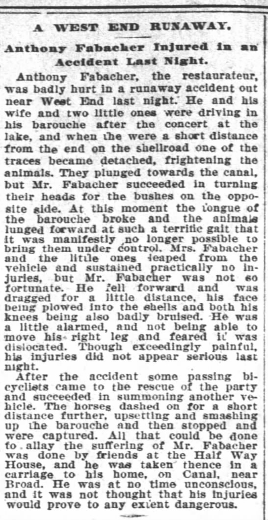 Barouche accident 14 Aug  1896 TP - A. AVE ST KJTD RUNAWAY. Anthony Fabaeker...