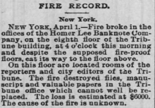 HLBNCo Fire reported in New Orleans paper - FIRE RECORD. Now York. New York. April 1. Fire...