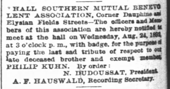 Picayune newspaper 24 August 1892 - HALL SOUTHERN' MUTUAL BEKKTO LENT ASSOCIATION,...
