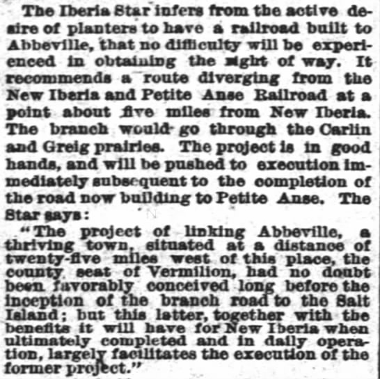 The Times-Picayune (New Orleans) April 30, 1883 - The Iberia Star infers from the active desire...